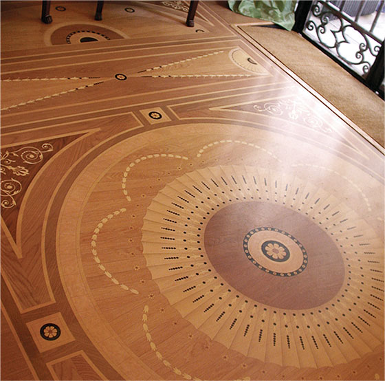 Chet pourciau design hardwood flooring inlay for Wood floor medallions inlay designs