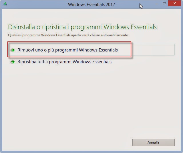 Rimuovi uno o più programmi Windows Essentials
