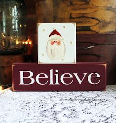 BELIEVE Santa Christmas Shelf Sitter Blocks