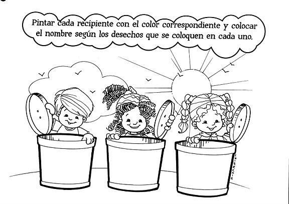Niños cuidando el medio ambiente para colorear - Imagui
