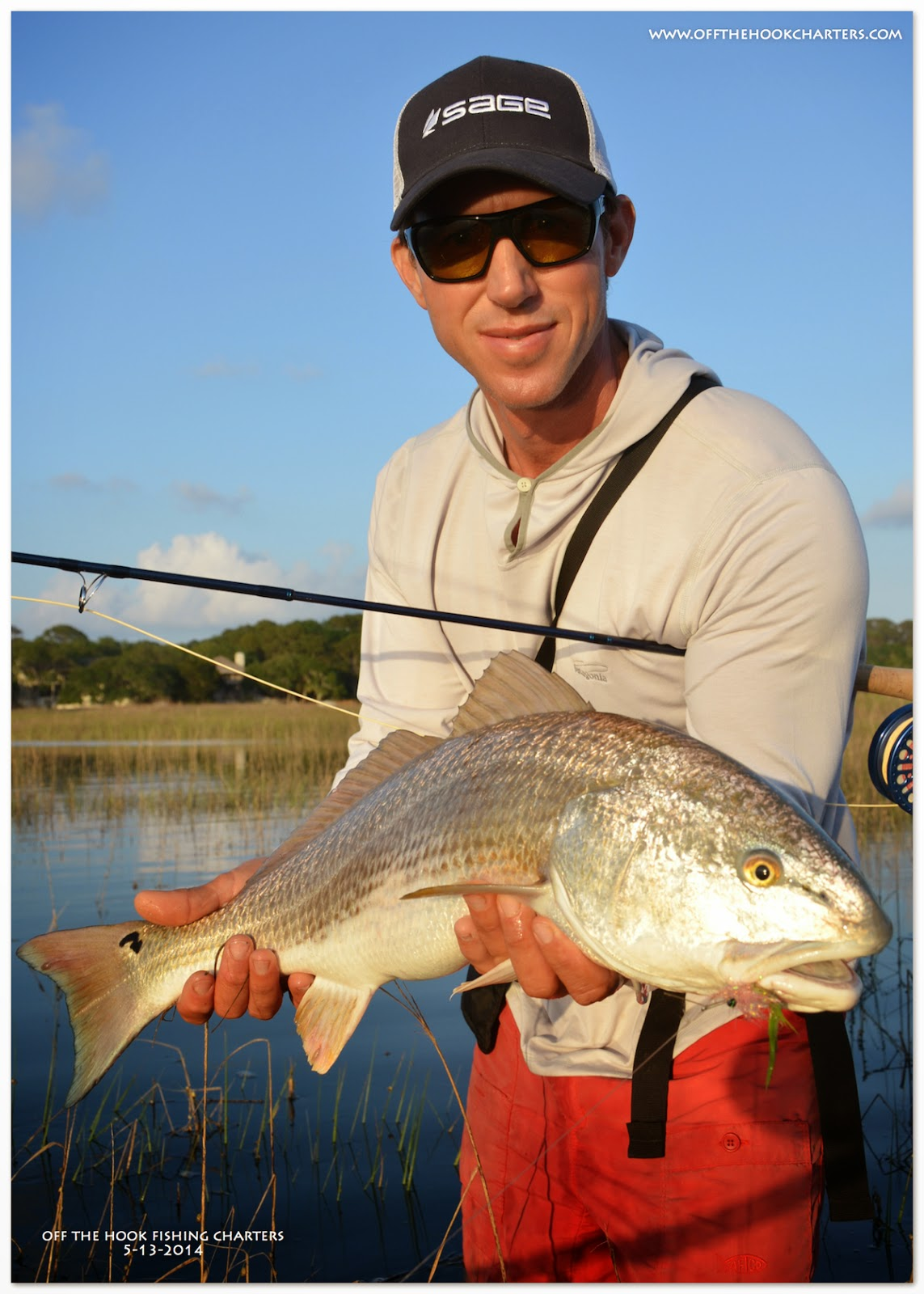 Nothing like wading for tailing reds for Off the hook fishing charters