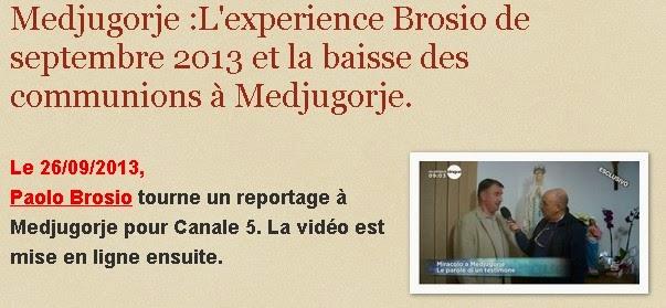 Medjugorje actualités :L'experience Brosio de septembre 2013 et la baisse des communions