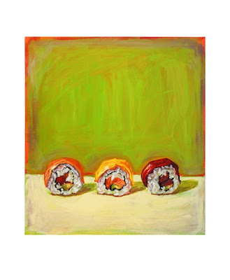 painting of 3 sushi rolls by Jeanne Vadeboncoeur