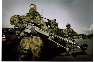 Soldier holding Denel ntw-20  anti material rifle