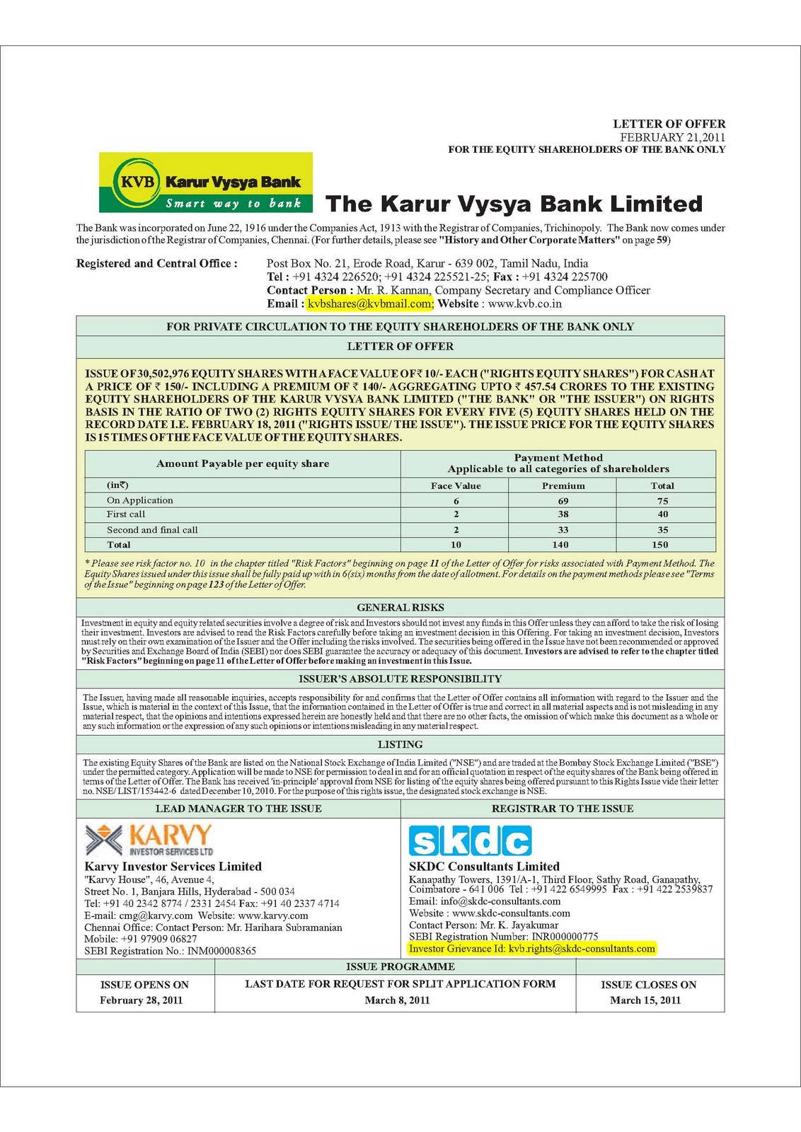 EASY Ways to Invest in India: Karur Vysya Bank - Rights issue - More Online Application Form Of Karur Vysya Bank on
