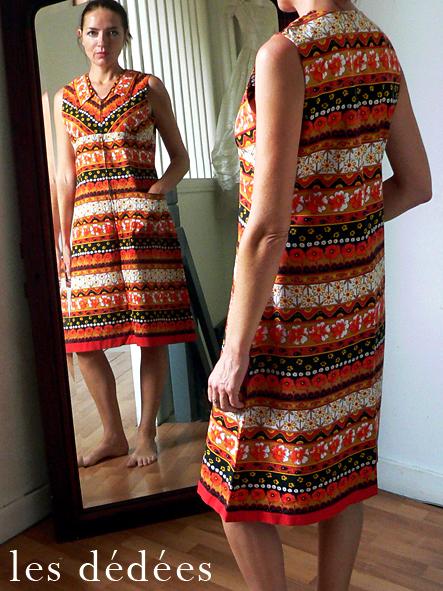 les dedees vintage recup creations la robe reve orange 70 by ben. Black Bedroom Furniture Sets. Home Design Ideas