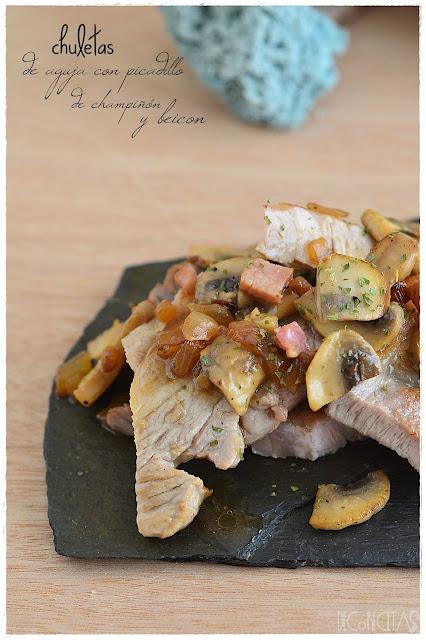Chuletas de aguja con picadillo de champiñon con beicon
