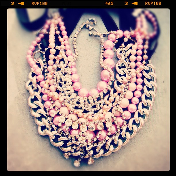 layered necklaces, statement necklace, pink pearls and rhinestones