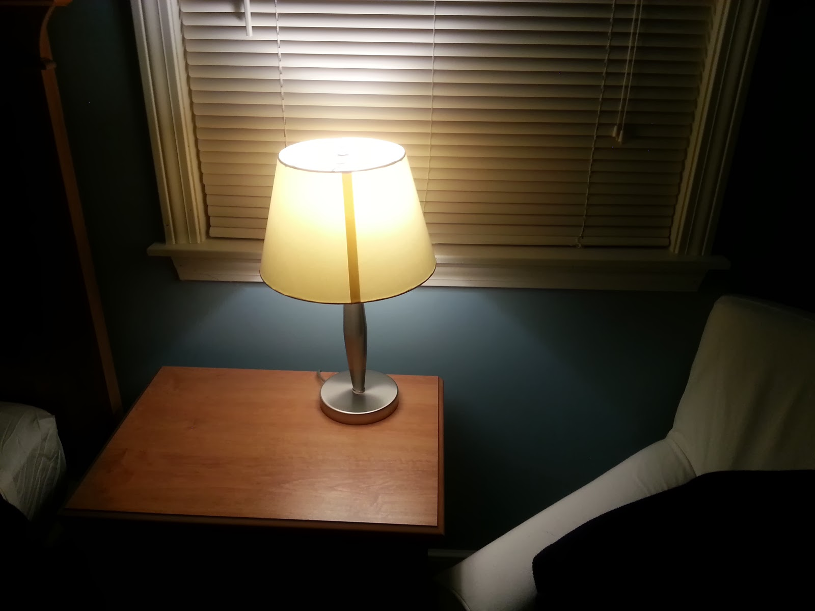 Bedroom Lamp with GE Reveal LED Bulb