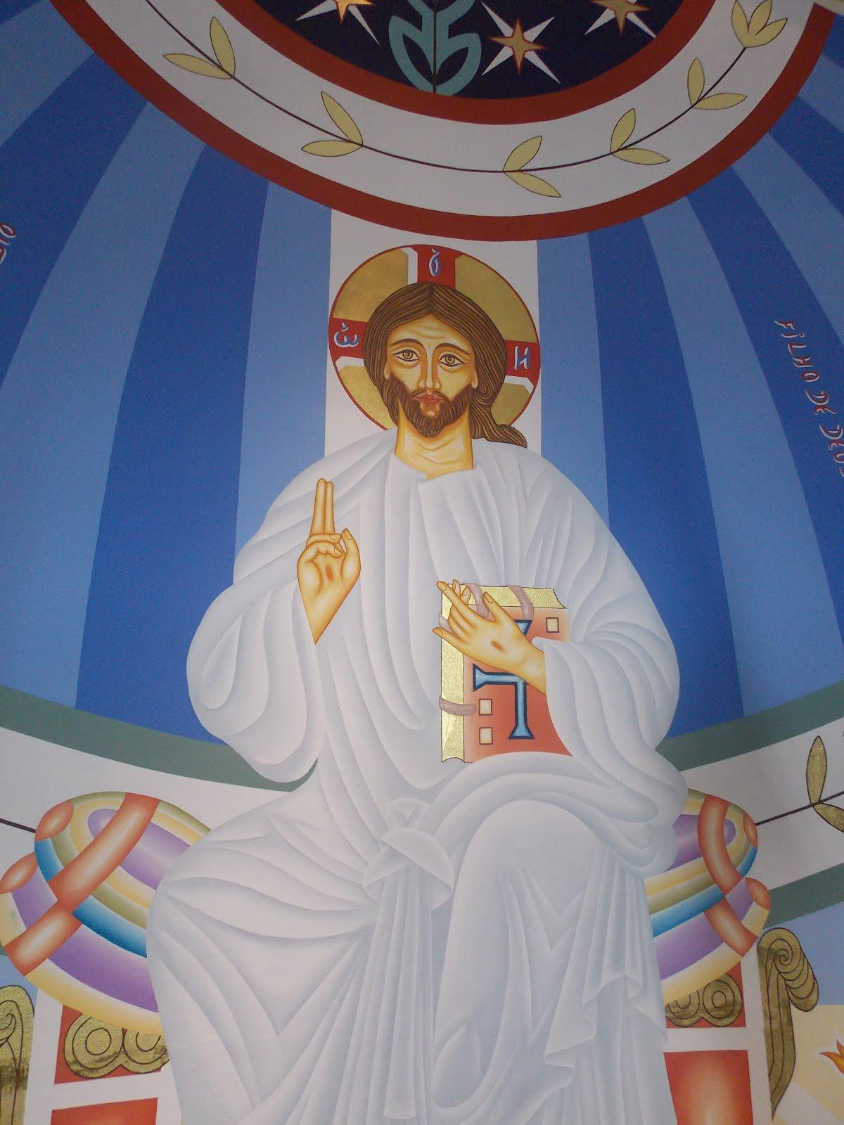 Detalhe do painel Cristo a paz Eu vos dou