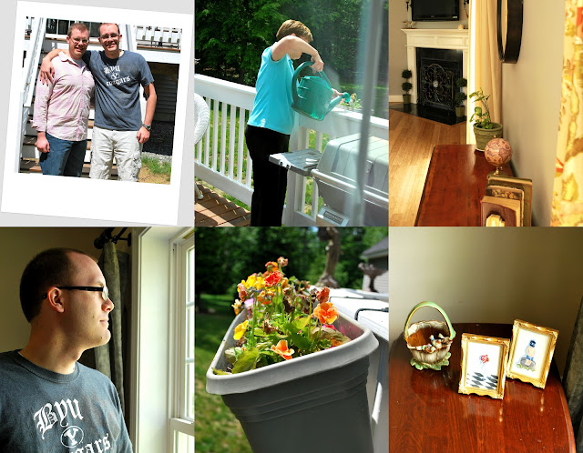 Six photos in and around the house in New Hampshire. Shane and B at the base of the deck in the back. Mom watering flowers in the flower boxes. The fireplace. Shane looking out the window. A close-up of a flower box. Framed artwork resting on a table.