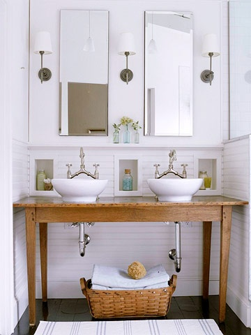 Wood tables as Bathroom vanities. To da loos  Wood tables as Bathroom vanities