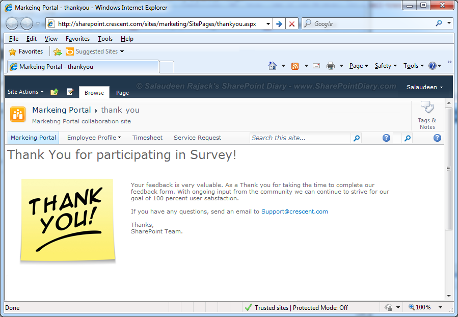 sharepoint 2010 survey thank you page