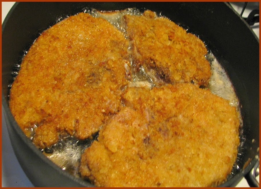 Pan fried chops (crushed saltine breading)