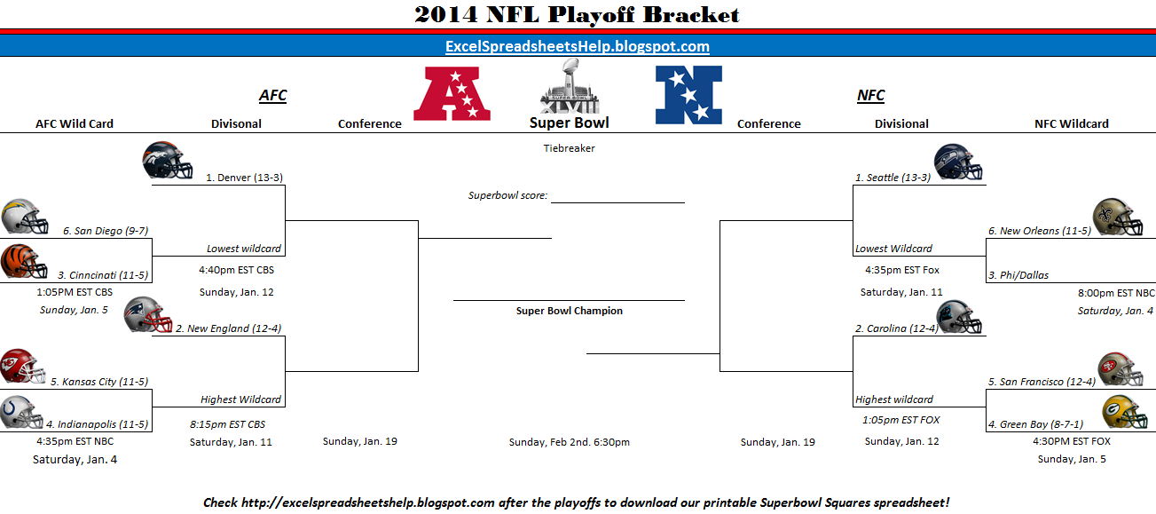 graphic relating to Printable Nfl Playoffs Bracket titled Excel Spreadsheets Assist: Printable 2014 NFL Playoff Bracket