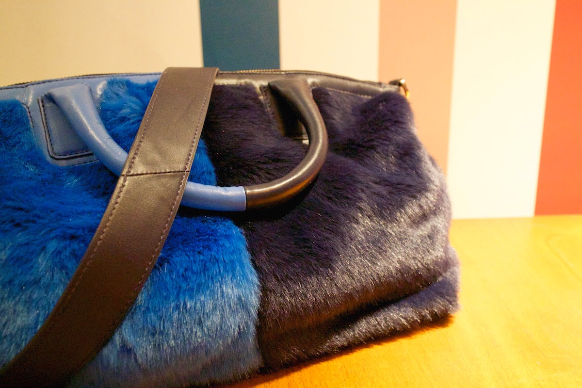 boden aw15 press day faux fur bag blue accessories