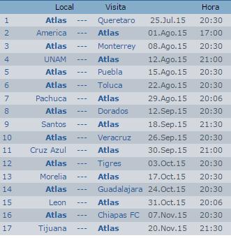Calendario Atlas Apertura 2015 Futbol Mexicano