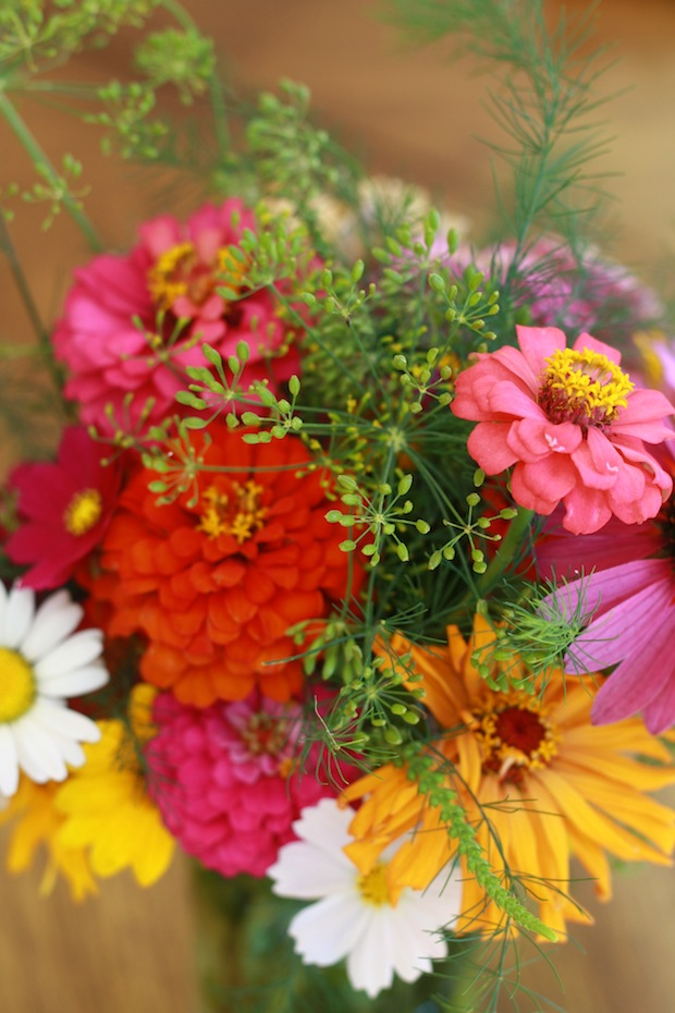 Summer flower bouquet with dill weed spice