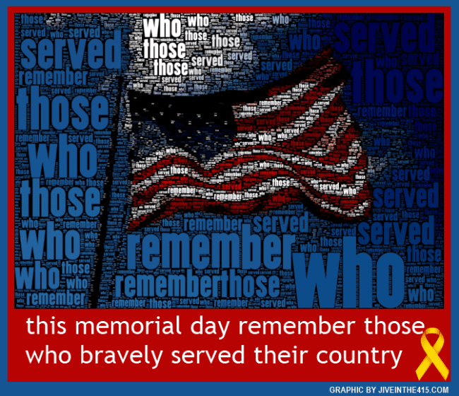 Memorial Day - American flag superimposed with the words remember those who served. By jiveinthe415.com