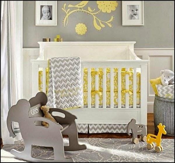 Cuartos de bebé en amarillo y gris  Dormitorios colores y estilos