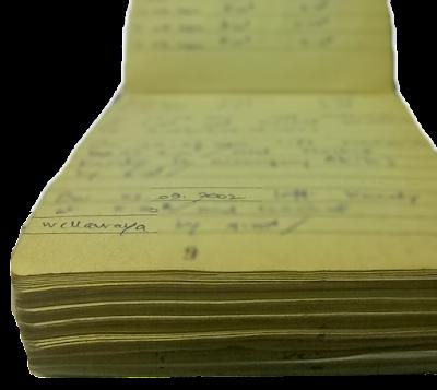 old field note book entry fond memories කහගැහුණු ක්ෂේත්ර සටහන් පොත