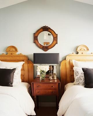 Formal wooden vintage double beds. beautiful wood work. Vintage minimalistic.