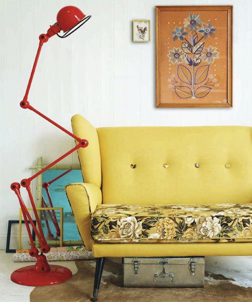 Vintage+Yellow+Sofa+and+Large+Red+Anglepoise+Lamp Retro Home DIY Ideas for Decor | Colourful Flea Market Thrift Style