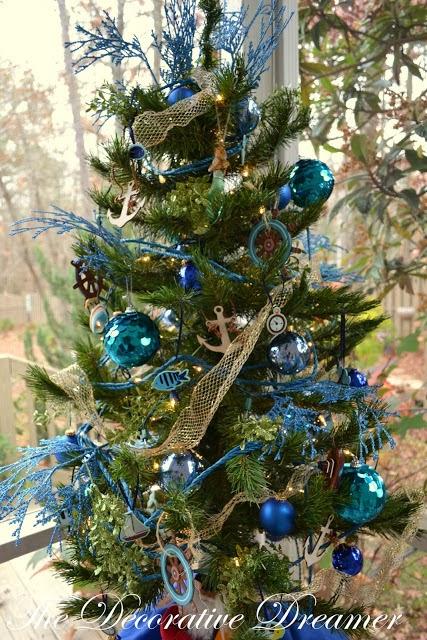 A beautiful nautical christmas tree in blue coastal