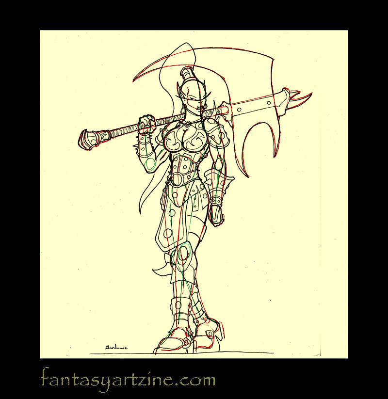 Learn how to sketch and draw a World of Warcraft orc woman warrior