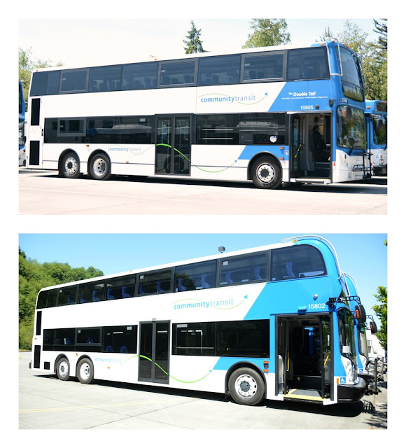 Pictures of current and new Double Tall Double Decker buses