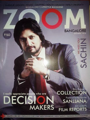 Sudeep on the cover page of Bangalore's Lifestyle Magazine - ZOOM!