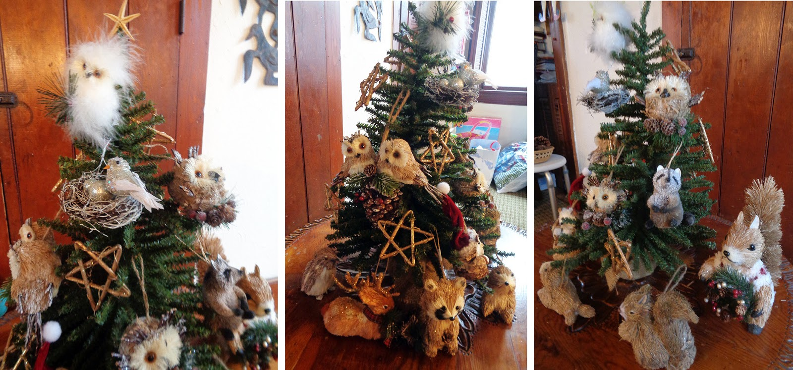 And Here Below Is The Little White Tree I Decorated With My Hammered,  Painted Tin Ornaments From Mexico And The Lacqueronwood (i Think)  Ornaments From