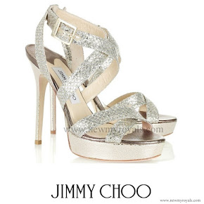 Kate Middleton Style jimmy choo Vamp glitter finish sandals