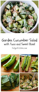 Garden Cucumber Salad with Tuna and Sweet Basil [from KalynsKitchen.com]