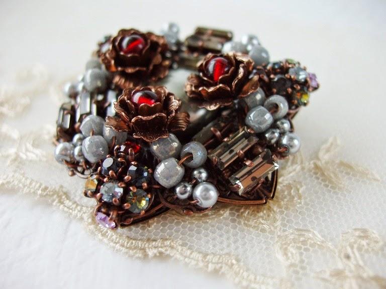 Art Deco Brooch Vintage style jewelry baguette crystals Swarovski Preciosa rhinestones