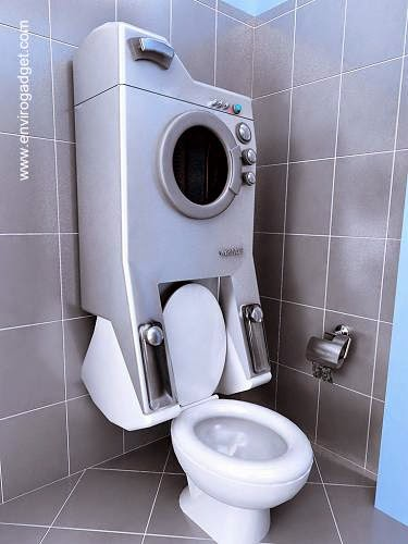 Lavadora de ropa como mochila de inodoro de baño