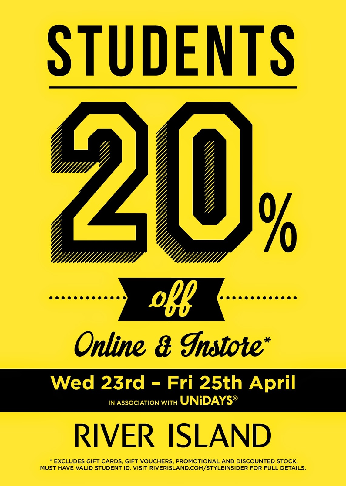 river island student event get your discount in store and online