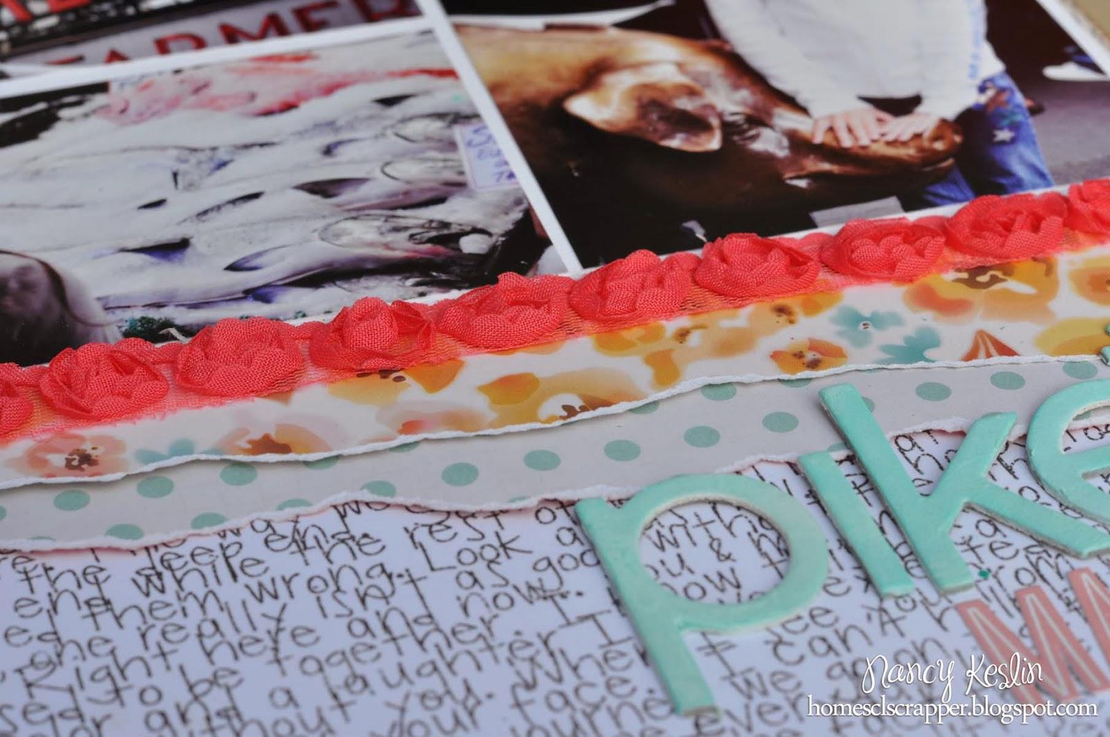 ribbon rose, pikes market, scrapbook, 12x12, multi photo