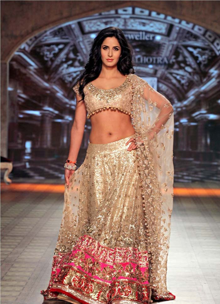 Katrina Kaif in Lehenga Choli Photos During Fashion Show