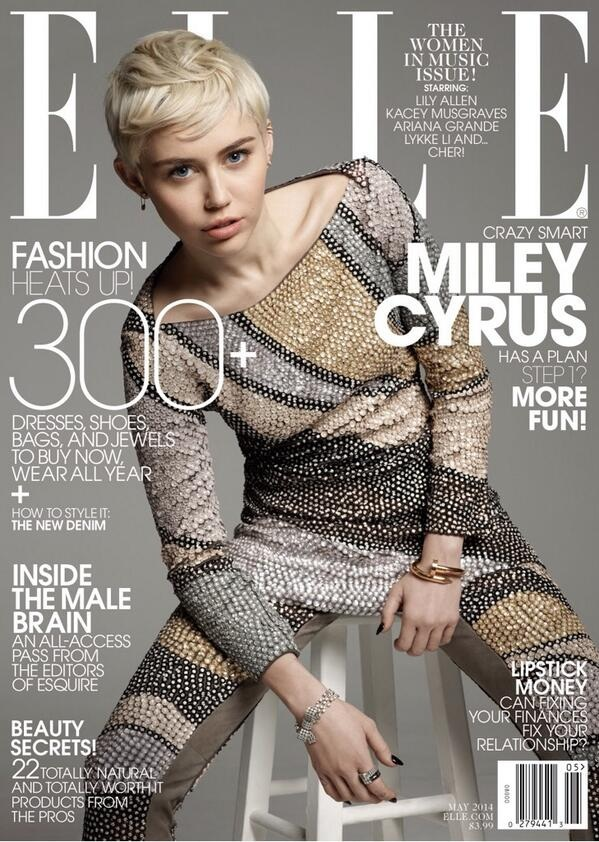 Miley Cyrus covers Elle US May 2014 in an embellished Marc Jacobs design