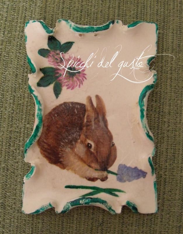 targhetta coniglio e tanti auguri di una serena pasqua