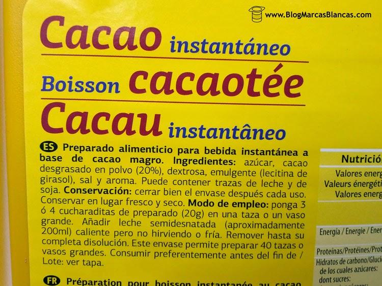 Ingredientes del cacao instantáneo (tipo Nesquik) DIA