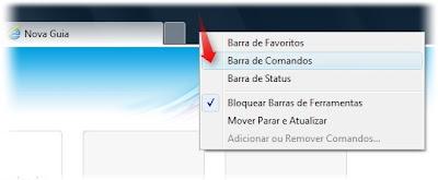 barra de comandos Internet Explorer