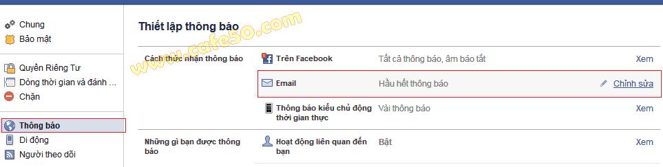 Cách chặn Facebook (FB) gửi thử (Email) thông báo về Gmail, Yahoo...