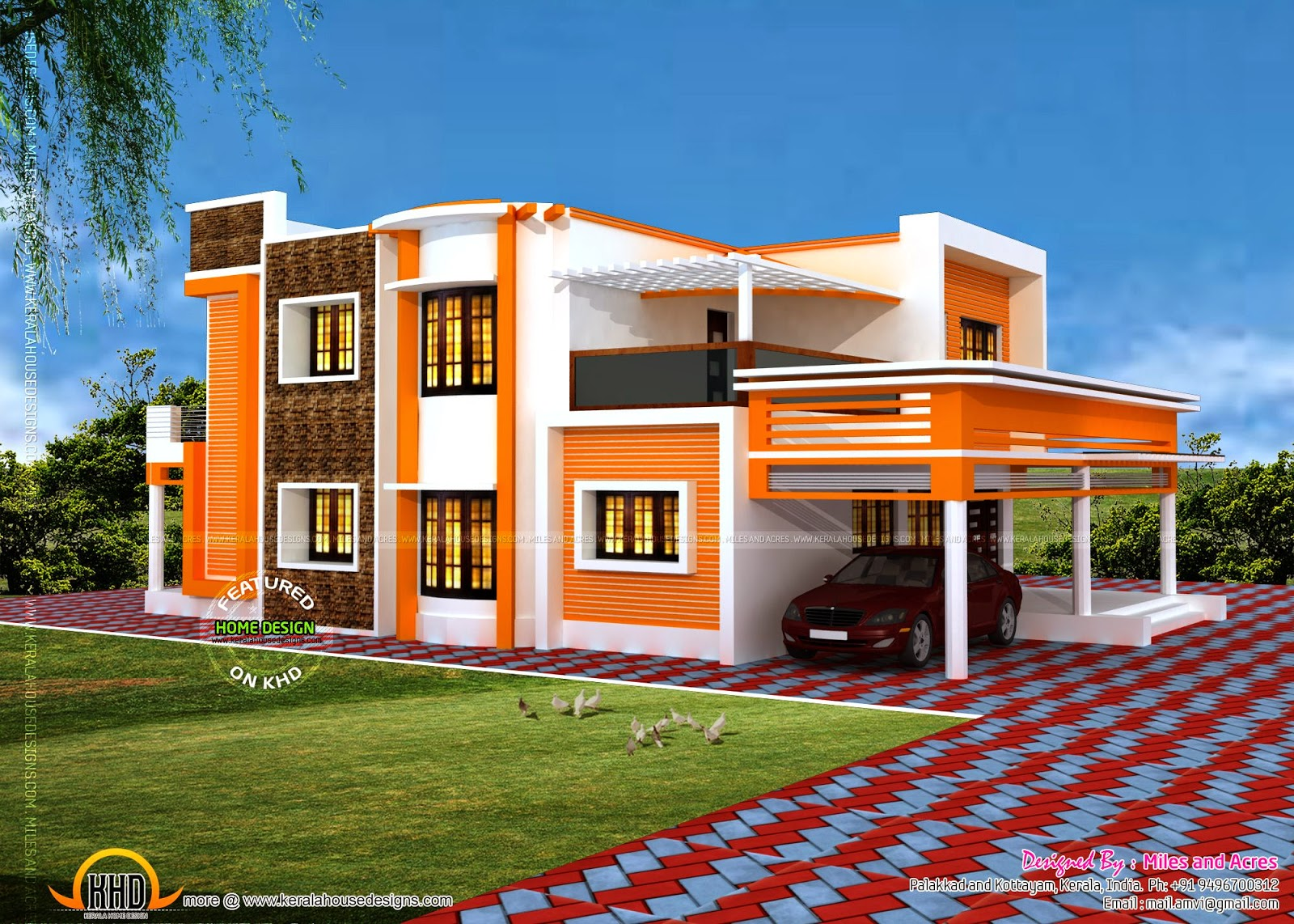 Floor plan of modern flat roof house kerala home design for Flat roof elevation