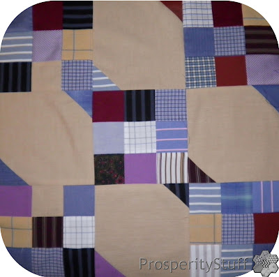 ProsperityStuff Dress-Shirt Quilt Top: Snowball-and-Nine-Patch