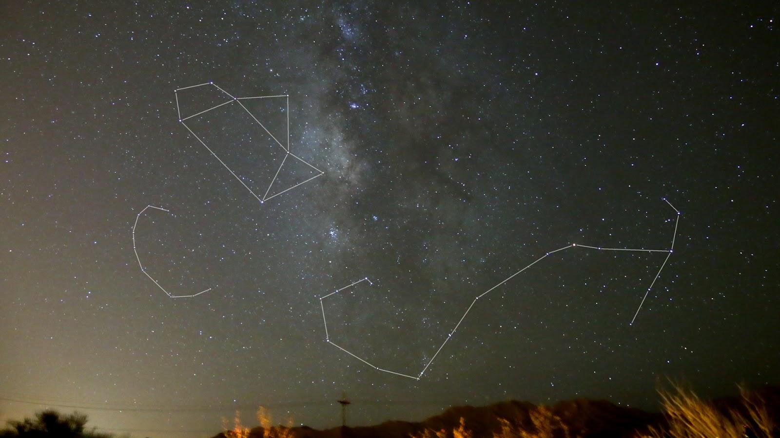 Nhóm sao Ấm trà thuộc chòm sao Cung Thủ thì nằm gần khu vực đông đúc của dải Ngân Hà và gần chòm sao Thiên Hạt (Scorpius). Hình ảnh : JohnDolby.