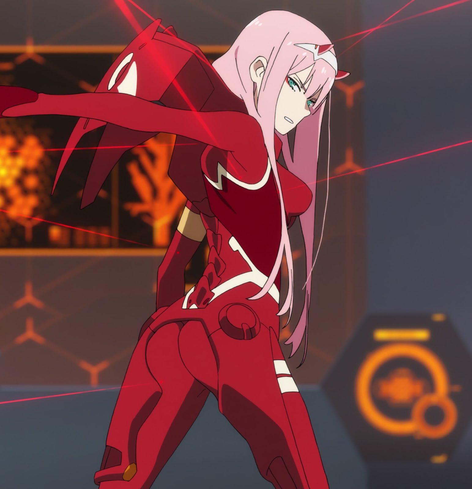 真っ赤なスーツを着たゼロツーのダーリンインザフランキスの壁紙