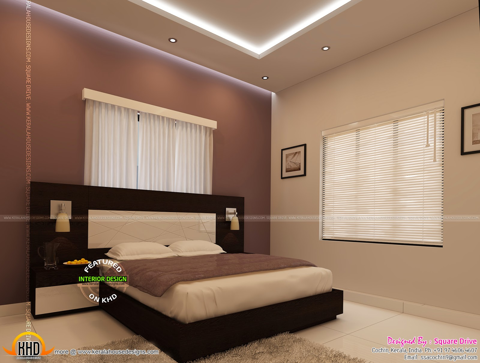 Bedroom interior designs kerala home design and floor plans for Interior decoration bedroom photos