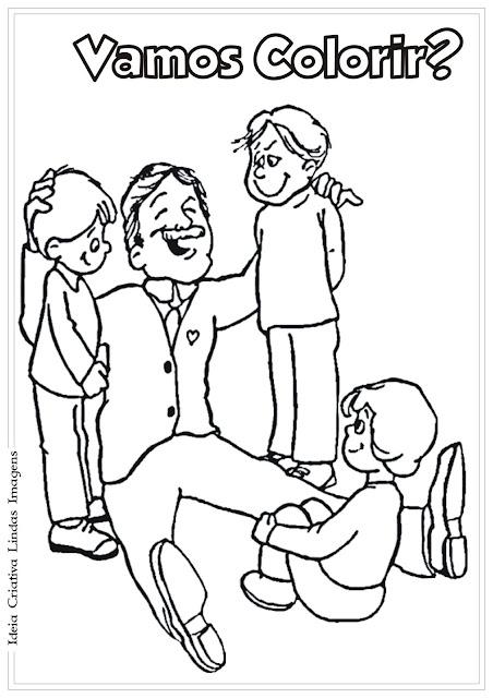 Desenho Pai e filhos para colorir - Dia dos Pais para colorir